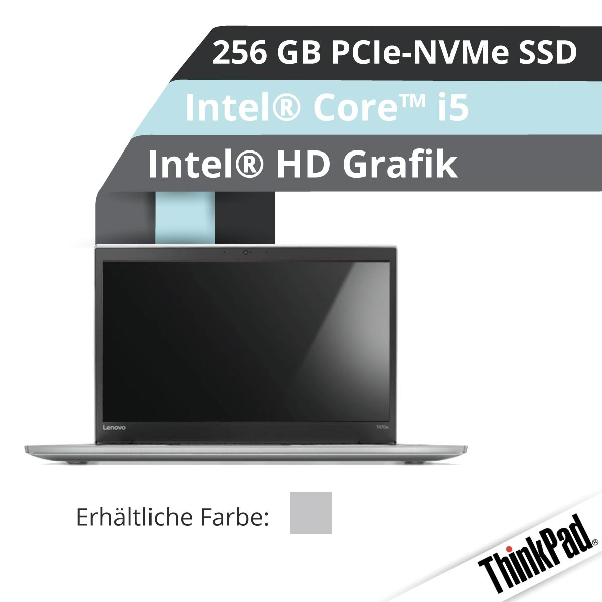 (EOL) Lenovo™ ThinkPad® T470s Notebook Modell 20HF-0016 (Silber)