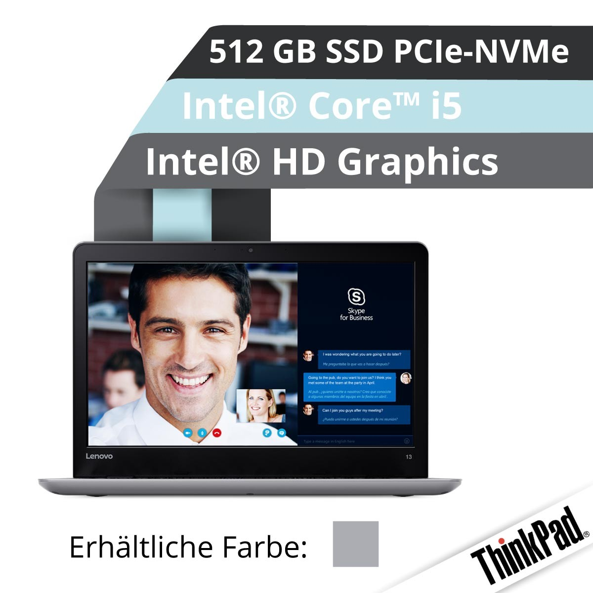(EOL) Lenovo™ ThinkPad® 13 Notebook Modell 20J1-0015 (Silber)