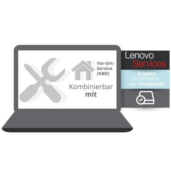 Lenovo Garantieerweiterung: 5 Jahre Einbehalten der Festplatte kombinierbar mit Vor-Ort Service
