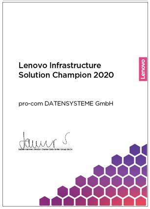 Lenovo Infrastructure Solution Champion 2020 Award